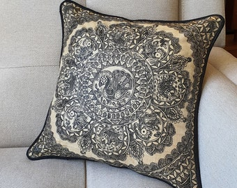 Hand Painted Madhubani Art Pillow Cover , Hand Painted Black & Beige Pillow Cover , Natural Khadi Silk and Black hand Painted Cushion Cover
