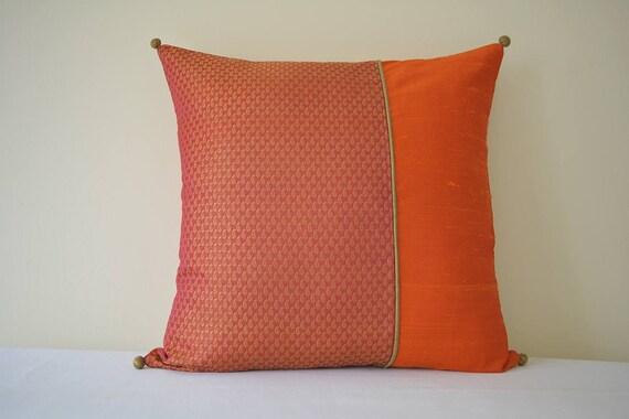 Beautiful Orange and Pink Brocade Silk Pillow Cover , Orange Brocade Cushion Cover , Orange Decor Pillow Cover , Bright Orange Indian Pillow