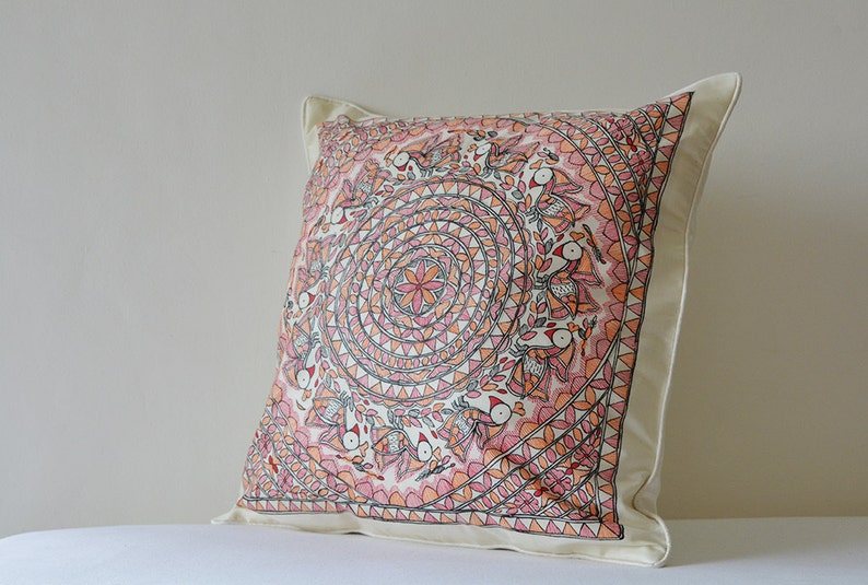 Colourful Folk Art on Off White Silk Pillow Cover Tussar Silk and Colourful Hand Painted Cushion Cover Hand Painted Madhubani Pillow