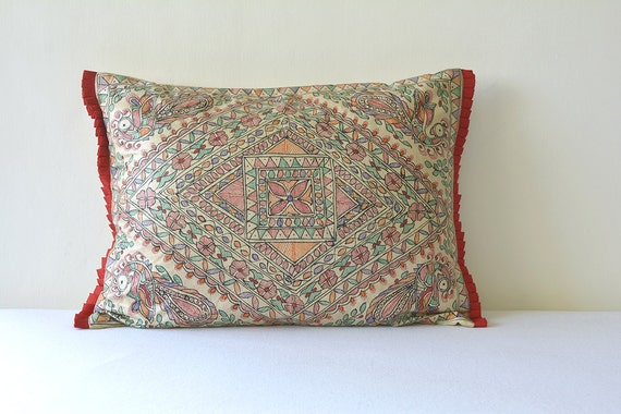 Colourful Hand Painted Madhubani Pillow Cover Colourful Folk Etsy Amazing Hand Painted Pillow Covers
