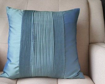 Blue Pleated Taffeta Pillow Cover , Solid Blue Textured Cushion Cover , Children's Room Decor