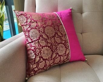 Bright Wine and Hot Pink Brocade Pillow Cover , Pink Brocade Cushion Cover , Decor Pillow Cover , Fuchsia Brocade Pillow