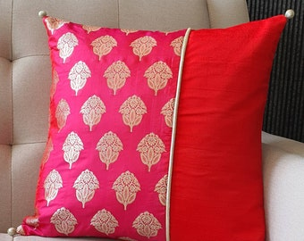 Bright Red and Pink Brocade Pillow Cover , Pink Brocade Cushion Cover , Decor Pillow Cover , Fuchsia Brocade Pillow