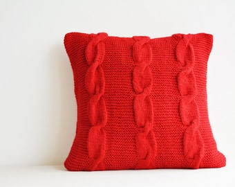 Red Hand Knitted Holiday Pillow with Mother of Pearl Buttons , Christmas Decor , Holiday Pillow , Warm Cozy Red Cable Knit Cushion Cover