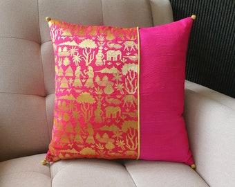 Bright Hot Pink Tropical Village Life Brocade Pillow Cover , Pink Brocade Cushion Cover , Decor Pillow , Fuchsia Brocade Pillow