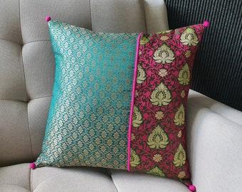 Teal Pink & Emerald Green Silk Brocade Pillow , Green and Pink Brocade Cushion Cover , Teal Decor Pillow , Green Pink Pillow