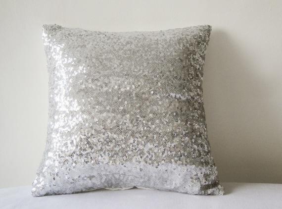 Shiny Silver Sequin Pillow Cover Silver Decorative Pillow Etsy Enchanting Silver Sequin Decorative Pillow