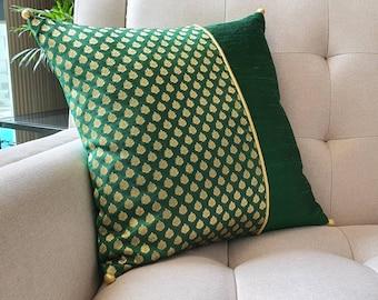 Emerald Green Silk Brocade Pillow Cover , Green Brocade Cushion Cover ,Green and Gold Decor Pillow , Gold Pillow Cover