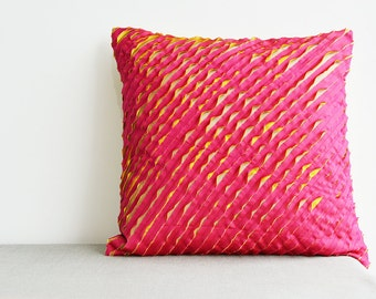 Fuchsia and Yellow , Textured & Frayed 3 Layer Faux Silk Cushion Cover , Textured Pillow Cover , Decorative Pillow, Throw Pillow