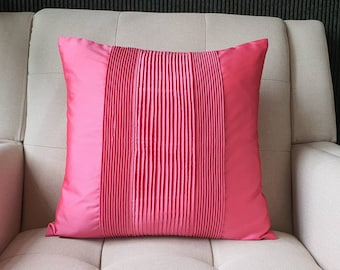 Bright Pink, Pleated Taffeta Pillow Cover , Solid Pink Textured Cushion Cover , Children's Room Decor