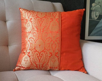 Bright Orange and Gold Brocade Pillow Cover , Gold and Orange Brocade Cushion Cover , Decor Pillow Cover , Orange Brocade Pillow