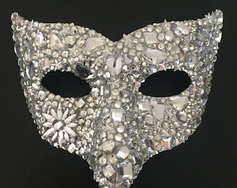 Jewelled Cluster Crystal Traditional Venetian Mardi Gras Mask