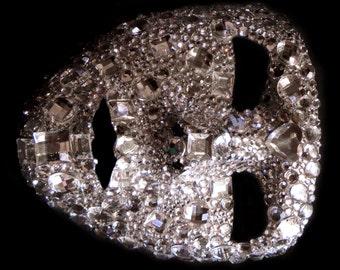 Jewelled Cluster Crystal Full Face Venetian Mask