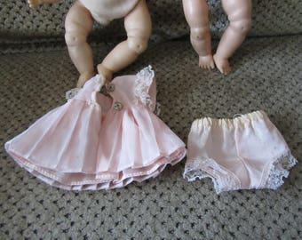 """Two Vintage 8"""" baby dolls - Vogue and unmarked - dress and panties - dolls have issues"""