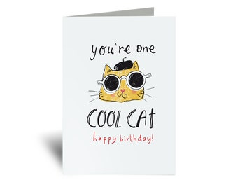 Cat Card, Cool Cat Birthday Card Printable, Instant Download Card for Cat lovers