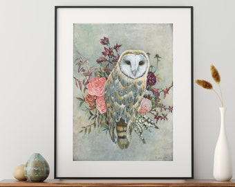 Boho Style Barn Owl Decor, Owl and Flowers Poster Print