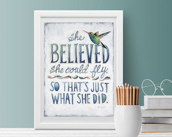 She Believed Sign, She Believed She Could So She Did, Graduation Gift Girl, Hummingbird, Inspirational Gift, Daughter Gift, Dorm Room