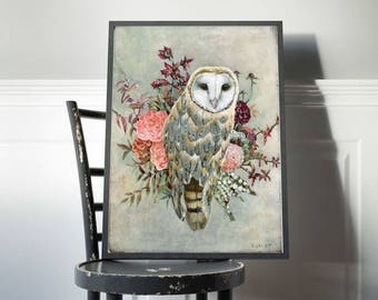 Barn Owl Print, Owl Gift, Birds, Owls, Nature Lover Gift, Owl Nursery, Owl Gift for Her, Flowers, Bird Art Prints, Home Decor, Owl Nursery