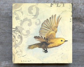 What if you Fly, Bird Art, Inspirational Gift, Cottage Chic, Framed Art, Square Art, Inspirational Art, Yellow and Gray
