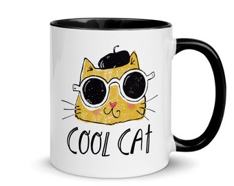 Cool Cat Coffee Mug, Cat Lover Gift, Cat Cup