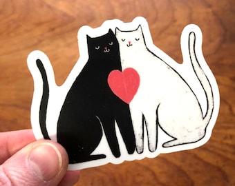 Snuggling Black and White Cats Sticker, Waterproof Vinyl Cats Sticker