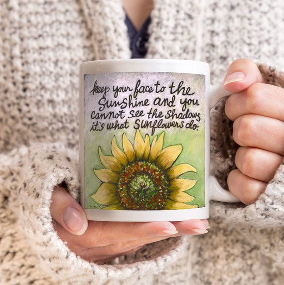 Sunflower, Helen Keller Quote Sunflowers Mug Gift for Friend