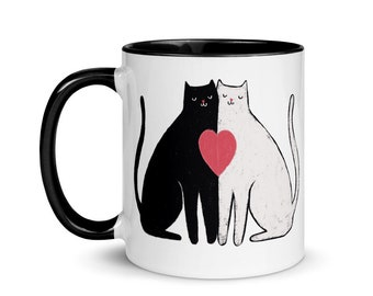 Black and White Love Cats Mug, Valentine's Day Gift for Her, Cute Heart Cats Coffee Cup, Cat Lover Present