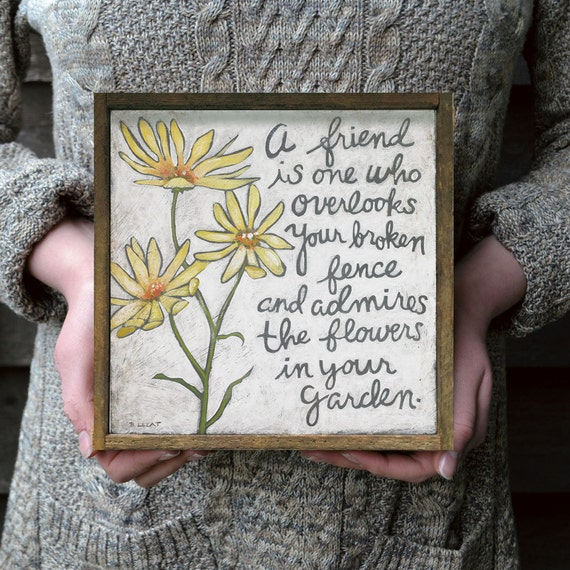 Thank You Gift Friendship Quote Yellow Flowers Gift For Etsy