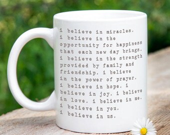 Personalized Anniversary Gift, I Believe in Us Coffee Mug, Valentines Gift Idea, Support Gift, Love Quotes