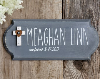 Personalized Confirmation Gift, First Holy Communion Present, Christening Keepsake for Boy, Girl, or Adult, Wall Sign with Cross