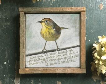 Yellow Bird, Encouragement Gift, Inspirational Gift, Get Well Gift, Inspiration, Reclaimed Wood Frame, Bird Art, Farmhouse Style, Boho Decor