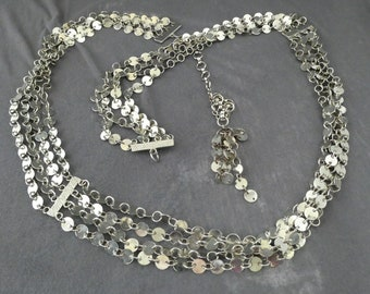 Vintage 90s Silver Tone Multi Strand Belt Size Small Chain Crystals Waist Belt or Cool Necklace Metal Release Buckle 31.5 Length