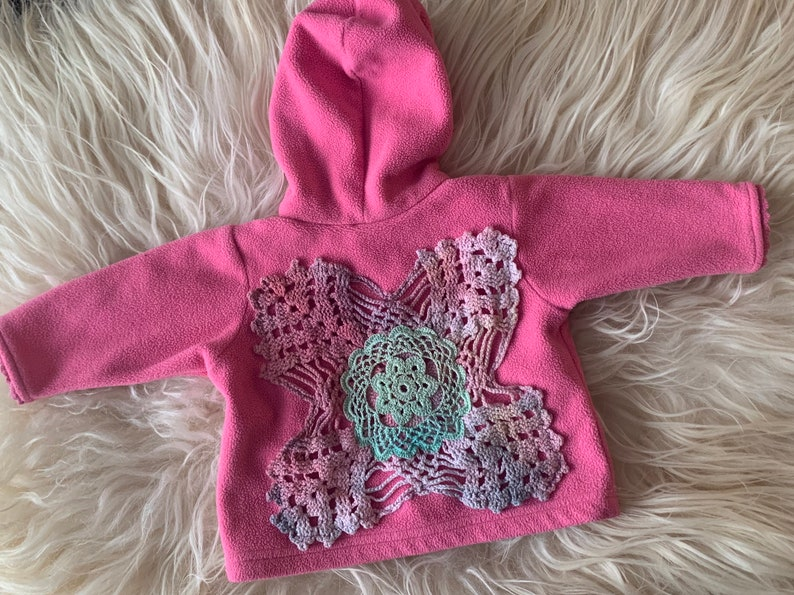 0-3m Pink Fleece Mandala Hooded Sweater vintage lace and doily