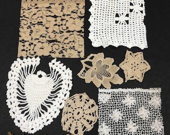 Crazy Quilt Kit Q 10 +VINTAGE SNIPPET CROCHET bundle for your Junk Journal Fabric Journal Tags Ephemera Art Mixed Media Collage Fiber Art