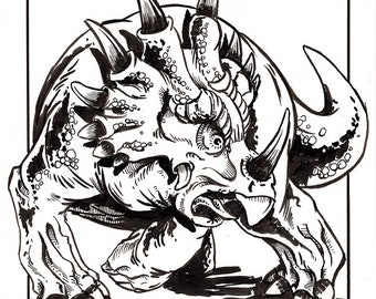 Styracosaurus Ink Illustration
