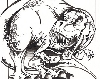 Tyrannosaurus Rex Ink Drawing