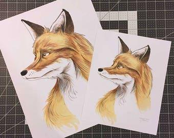 Majestic Fox Watercolor Print