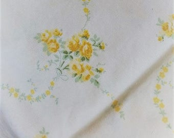 SALE Laura Ashley petite yellow roses cotton fabric bouquets