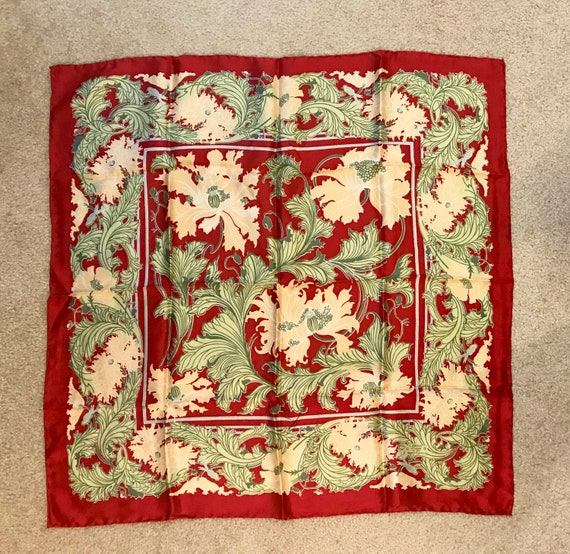 Liberty of London 1970s Silk Red Floral Scarf