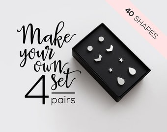 pair Stainless Steel 3 Color I Want You Monogram Circle Stud Earrings