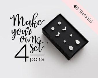 4 Pairs Surgical Steel Stud Earring Set / mix and match earrings /  hypoallergenic earrings / earrings for sensitive ears / minimal earrings