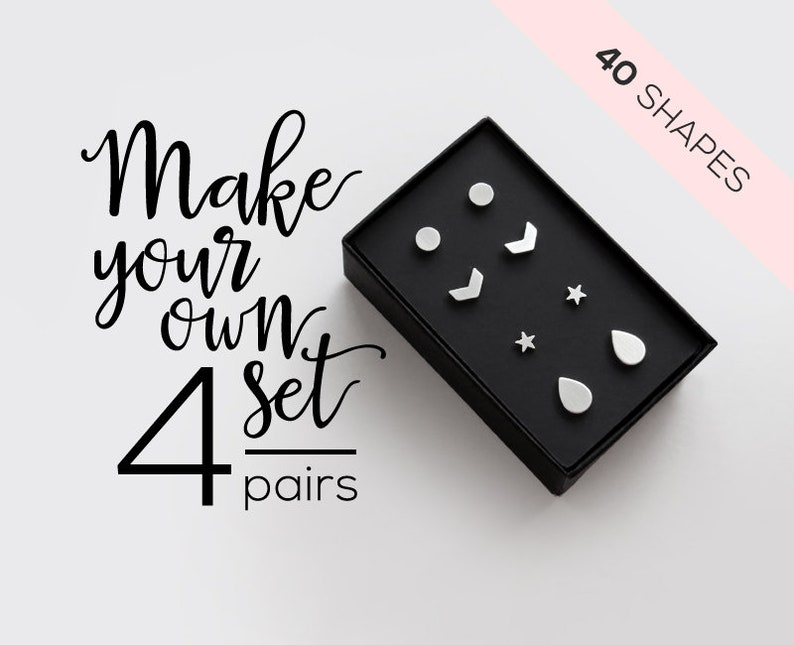4 Pairs Surgical Steel Stud Earring Set / mix and match image 0