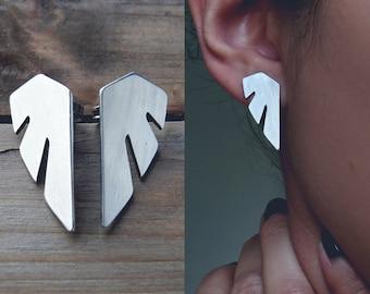 Statement Earrings / Wing stud earrings / surgical steel studs / geometric wing earrings / stainless steel