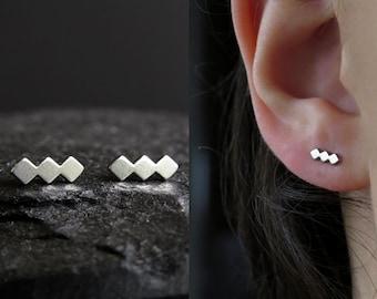 Minimalist stud earrings / dainty stud earrings / triple rhombus earrings / delicate earrings  / surgical steel / christmas gift