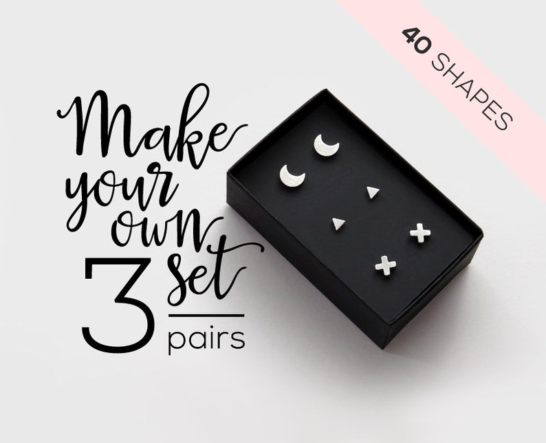 Stud earring set of 3 pairs / mix and match earrings gift box image 1