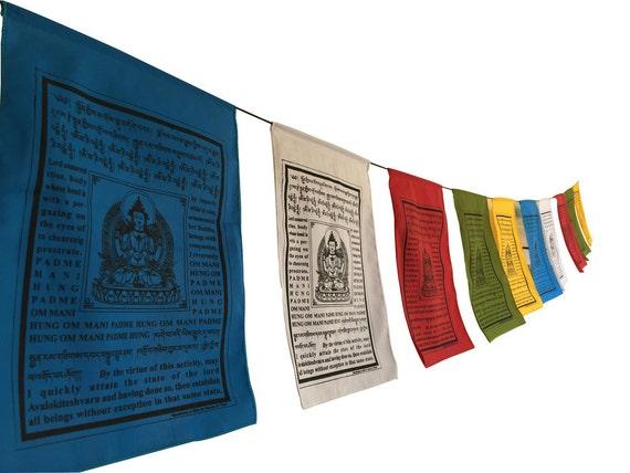 Duży Budda Flagi Modlitewne Współczucia Z Tłumaczeniem Etsy