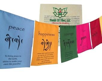 Hands Of Tibet Handmade Tibetan Affirmation Prayer Flags - Happiness, Courage, Love, Tranquility, Wisdom
