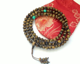 Tiger Eye Tibetan Mala - 108 Beads for Meditation
