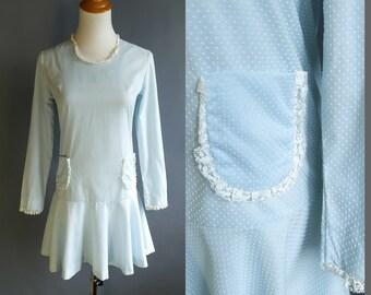 60s White Swiss Dot Sheer Fabric Ruffled Edges Pink Velvet StrapsTrim A-line Midi Romantic Sweet Dress sz S