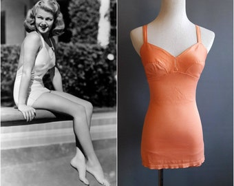 dfe5e6a6be 1940s satin swimsuit 1940s swimsuit peach lastex satin Gantner stretch 40s  swimwear 1940s bathing suit medium size 1940s swimwear